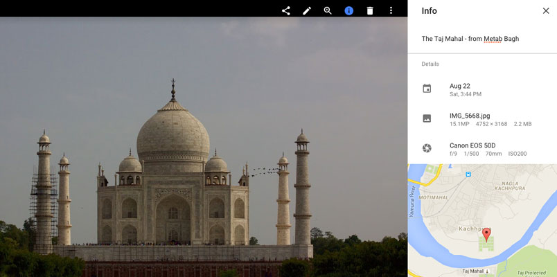 Photo of Taj Mahal in Google Photos with Info