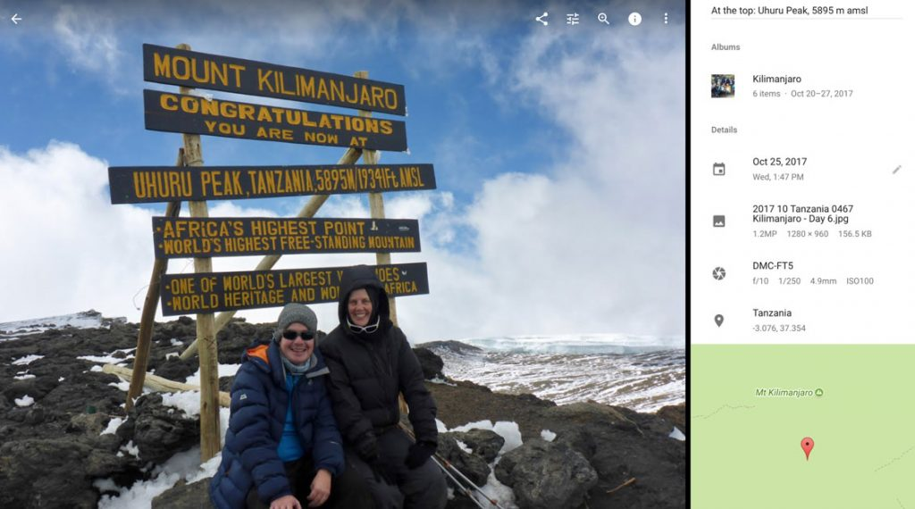 Google Photos Screenshot: Photo taken at Uhuru Peak with Map
