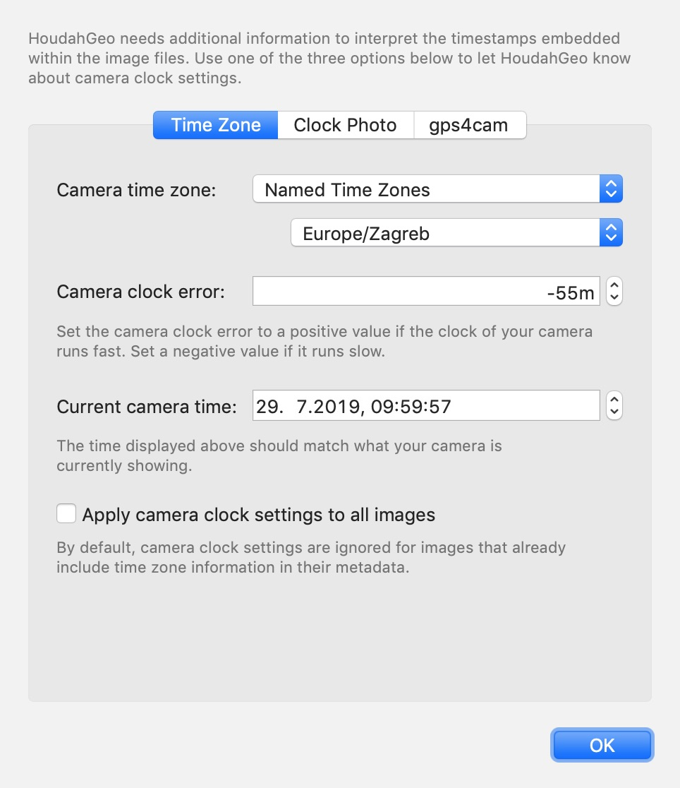 Camera clock settings. Camera was set to Croatia time going 55 minutes slow