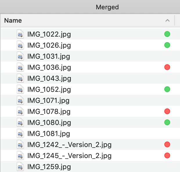 Screenshot: File tags in Finder used to mark files in a merged folder