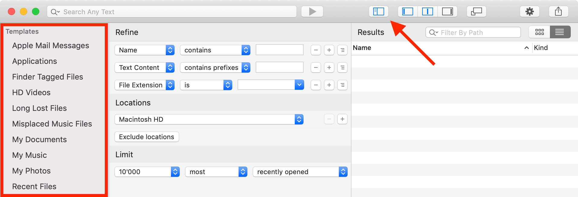 Screenshot: Search templates in the HoudahSpot sidebar