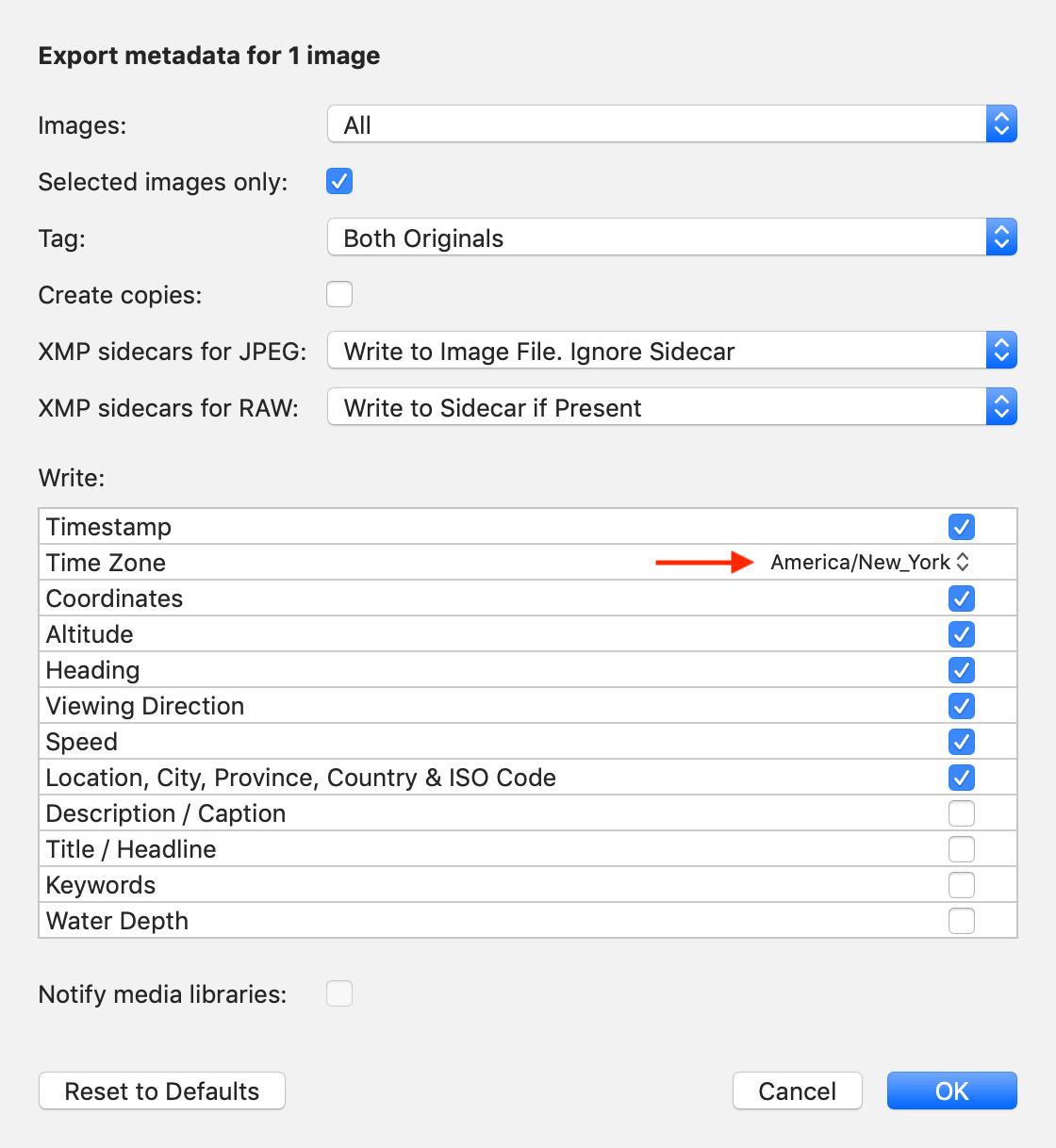 Screenshot: Correct photo time in EXIF metadata